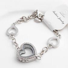 Living Memory Magnetic Glass Crystal Heart Locket Chain Floating Charms Bracelet