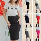 Sexy Women Plain Bodycon Pencil High Waisted Ladies Stretch Midi Knited Skirt RD