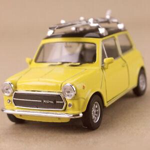 1990 Yellow Mini Cooper 1300 Black White Surfboard Diecast 1:34 10cm long Opens