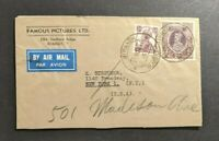 1946 Famous Pictures LTD Girgaon Bombay India Airmail Cover to New York NY USA