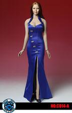 1:6 SUPER DUCK Blue Cheongsam Dress Clothes Shoes For Female Phicen Body C014