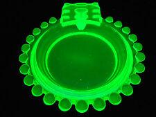 Vaseline glass candlewick pattern Cigarette holder ashtray uranium green tobacco