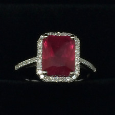 Genuine Solid 14K White God 2.3CT Blood Red Ruby Natural Diamond Wedding Ring