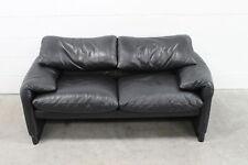 "Sublime Handsome Cassina ""675 Maralunga"" 2-Seat Sofa in Jet Black Leather"