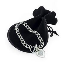 Silver Colour Crystal Double Heart Tbar Bracelet with Black Velvet Gift Pouch