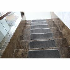 Stair Treads Set Grey Indoor Wood Floors Non Skid Slip Carpet Rugs Pads Rubber