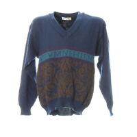 Herren Strickpullover Gr. L Vintage Retro Motiv Sweater Langarm V-Ausschnitt