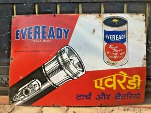 VINTAGE OLD UNIQUE EVEREADY TORCH & BATTERY PROCEIALN ENAMAL RARE SIGN BOARD