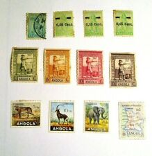 ANGOLA, 1932-1955, Lot of (12) Mostly UNUSED, Hinged Stamps