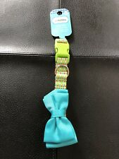 Pet Holiday Collection Small Dog Collar - Green w/Dots & Blue Bow - New w/Tags