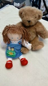 """Vermont Teddy Bear 12"""" Small & Baby GUND Doll 10"""" School Girl 2 For 1 Low Price"""