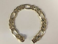 "mens bracelet 8.5"" 50 grams 12 Mm 14kt solid gold handmade Figaro Curb link"