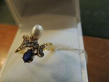 Bague or toi et moi saphir, diamants et perle