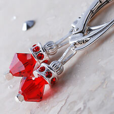 Sterling Silver Dangle Leverback Earrings Red Lt Siam Crystals from Swarovski®