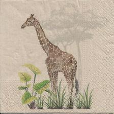 Lot de 4 Serviettes en papier Girafe Nature Decoupage Collage Decopatch
