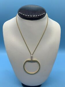 Roberto Coin 18kt Gold Stirrup Pendant with Diamonds Necklace