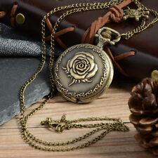 UK STEAMPUNK ROSE FLOWER POCKET WATCH NECKLACE Jewellery Gift Mechanical Retro