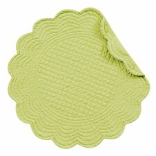"""Set of Two (2) C&F APPLE GREEN Quilted Cotton 17"""" Round Placemats"""