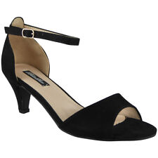 Womens Mid Kitten Heel Shoes Ladies Ankle Strap Buckle Work Party Sandals Size