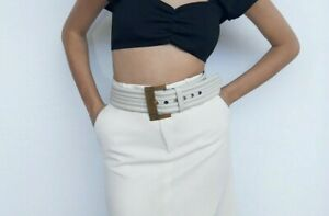 new ZARA real cow leather wide waist belt,ecru white,square metal buckle,90cm,LM
