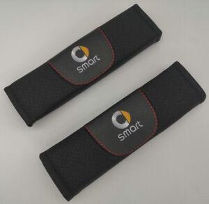 2Pcs Black Color Car Seat Belt Shoulder Cushion Cover Pad Fit For Smart Auto