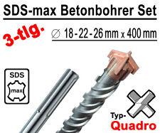 SDS-max Betonbohrer Set 3-tlg Quadro Bohrer Hammerbohrer 18mm 22mm 26mm x 400mm