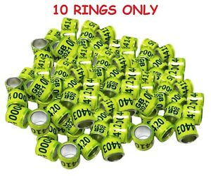 10 x GB 2021 PIGEON RINGS BANDS CHEAPEST ON UK EBAY!!