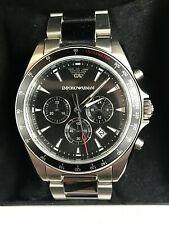 Emporio Armani AR6098 Sigma Black Dial Stainless Chronograph Mens Watch WARRANTY