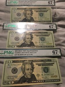 Fr 2098-L 2013 $20 SAN FRANCISCO NOTES PMG#67 Consecutive Serial Numbers