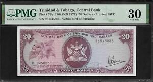 Trinidad & Tobago 20 Dollars 1964  PMG 30  P# 33a  PMG Population 2/14