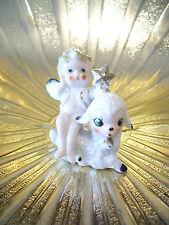 Very RARE VTG Japan Easter Angel Girl Boy Baby Holds Star on Lamb Sheep Figurine