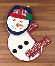 3D Snowman 2-Pc Holiday Toilet Lid & Rug Sets Winter Holiday Decor Commode Set