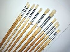12 x Round Artist Brush Set Small Large Art Paint Fitch Brushes Thin Thick Long