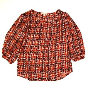 Banana republic abstract houndstooth print 3/4 sleeve blouse red orange small