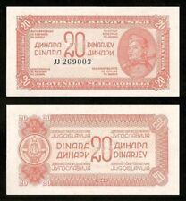 YUGOSLAVIA 20 Dinara *** 1944 *** P.51c (Paper w/fibers) *** UNC (NEUF)