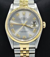 Rolex Datejust 16233 Jubilee 36mm 18K Yellow Gold /SS Roman Watch PAPERS *MINT*