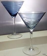 Cristal D'Arques Uptown Martini Glasses Set of 2 Blue Swirl and Dot Cut 8 oz