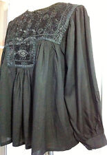 Black Embroidered Mirrors tunic top UK Size 10 12 14 16 18 Boho Hippy New Age A3
