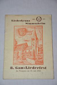 Simmozheim 1955 Heftchen Gau Liederfest Liederkranz Stammheim Calw