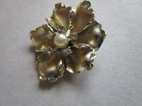 Vintage Retro Statement Brooch Pin Gold Tone Pearl Rhinestones Flower