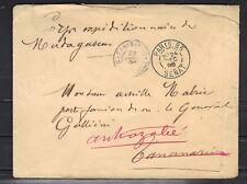 LETTRE SÉNAT 1898 POUR LE GENERAL GALLIENI à MAGADASCAR ARRIVEE 1899 ++très rare
