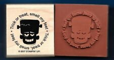 FRANKENSTEIN Trick or Treat Postage Seal NEW Stampin' Up! Halloween RUBBER STAMP