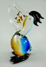 Personaje de vidrio * hambrientos Pelikan * Pelican pájaro * escultura en estilo Murano * 25 cm H