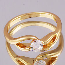 Exquisite Yellow Gold Filled Womens Clear CZ Ring Size 6.5#A6365