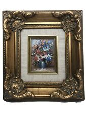 Small Vintage Signed Framed Oil Painting in Ornate Frame  Flowers