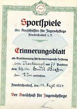Urkunde Sportspiele Erinnerungsblatt 1924 Emil Biehn Sportverein Friedrichsdorf