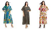 3 PC Combo Indian Women Floral Kaftan Plus Size Beach Cover Summer Cotton Dress
