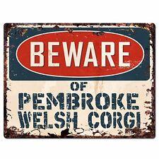 Ppdg0046 Beware of Pembroke Welsh Corgi Plate Rustic Chic Sign Decor Gift