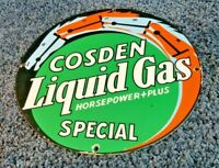 VINTAGE COSDEN GASOLINE PORCELAIN LIQUID GAS SERVICE STATION PUMP SIGN