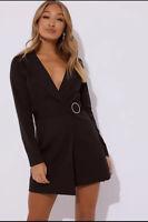 In The Style Regina Black Diamante Belted Blazer Dress Size 10 VR220 010